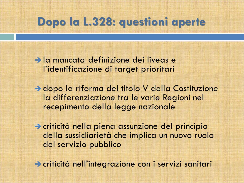 Dopo la L.328: questioni aperte  la mancata definizione dei liveas e l'identificazione di target prioritari  dopo la riforma del titolo V della Cost