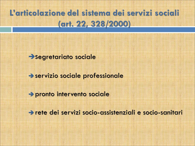 L'articolazione del sistema dei servizi sociali (art. 22, 328/2000) egretariato sociale  s egretariato sociale  servizio sociale professionale  pro