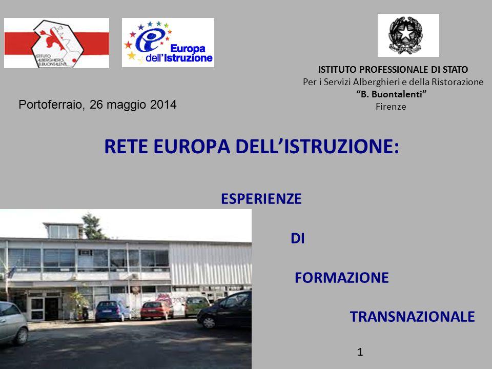 RETE EUROPA DELL'ISTRUZIONE: ESPERIENZE DI FORMAZIONE TRANSNAZIONALE ISTITUTO PROFESSIONALE DI STATO Per i Servizi Alberghieri e della Ristorazione B.