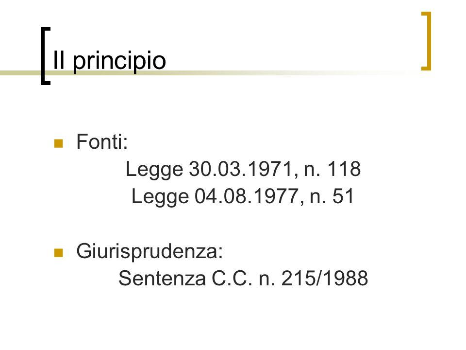 Il principio Fonti: Legge 30.03.1971, n.118 Legge 04.08.1977, n.