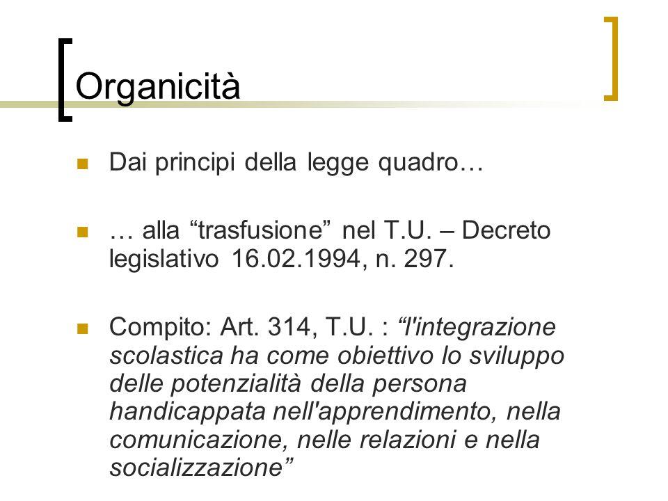 Organicità Dai principi della legge quadro… … alla trasfusione nel T.U.