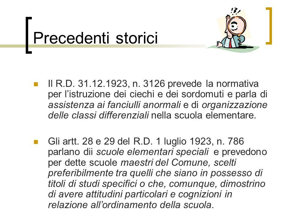 Precedenti storici Il R.D.31.12.1923, n.