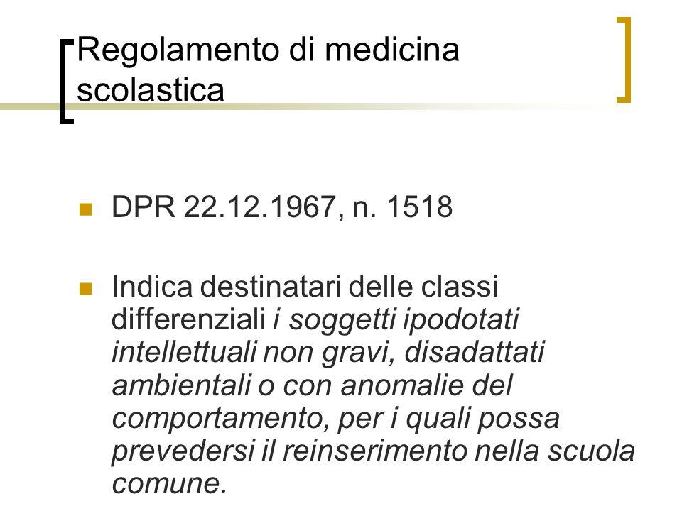 Regolamento di medicina scolastica DPR 22.12.1967, n.