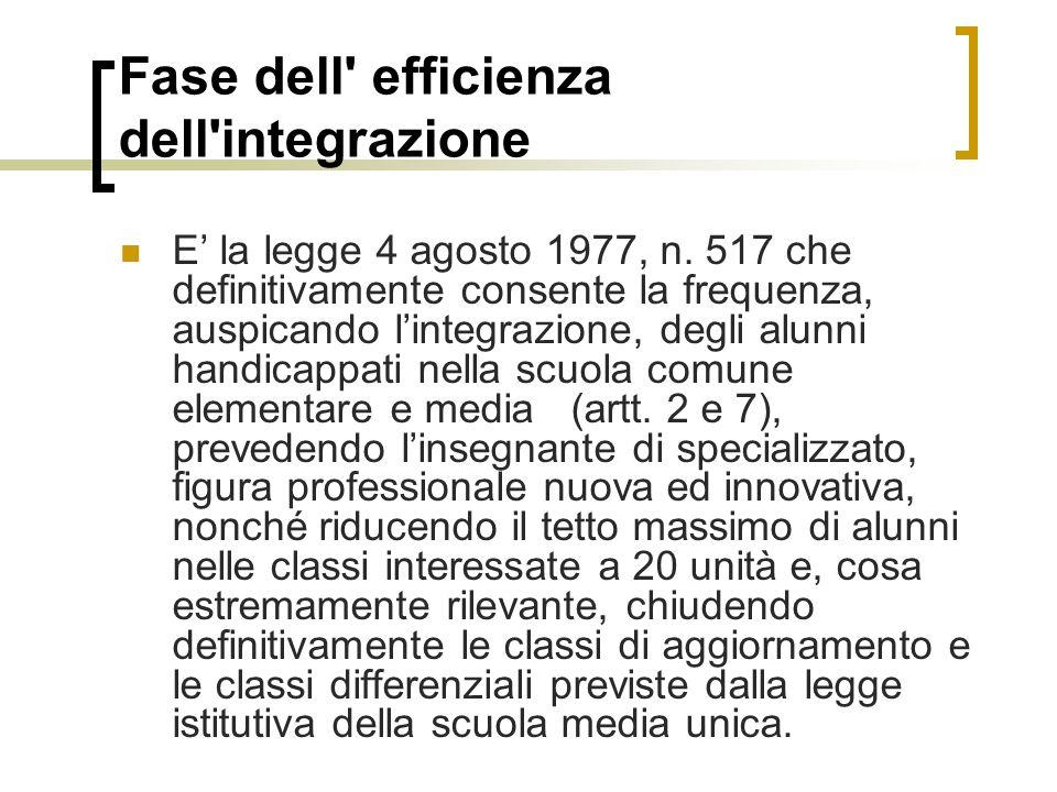 Fase dell efficienza dell integrazione E' la legge 4 agosto 1977, n.