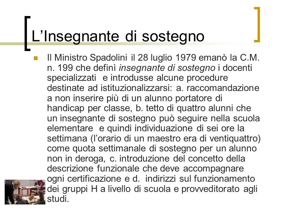 L'Insegnante di sostegno Il Ministro Spadolini il 28 luglio 1979 emanò la C.M.
