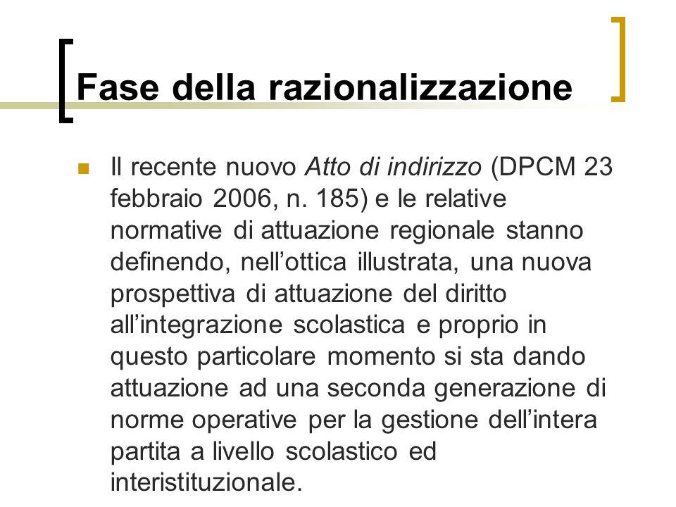 Fase della razionalizzazione Il recente nuovo Atto di indirizzo (DPCM 23 febbraio 2006, n.
