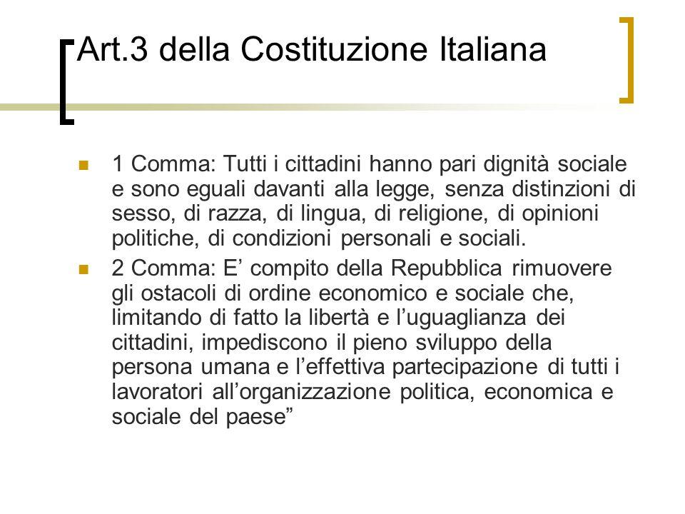 Art.3 della Costituzione Italiana 1 Comma: Tutti i cittadini hanno pari dignità sociale e sono eguali davanti alla legge, senza distinzioni di sesso, di razza, di lingua, di religione, di opinioni politiche, di condizioni personali e sociali.