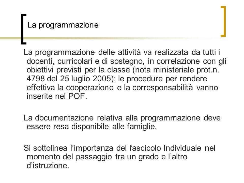 La programmazione La programmazione delle attività va realizzata da tutti i docenti, curricolari e di sostegno, in correlazione con gli obiettivi previsti per la classe (nota ministeriale prot.n.