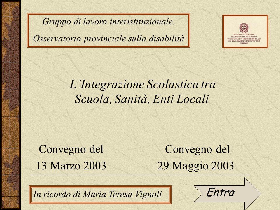 L'Integrazione Scolastica tra Scuola, Sanità, Enti Locali Gruppo di lavoro interistituzionale.