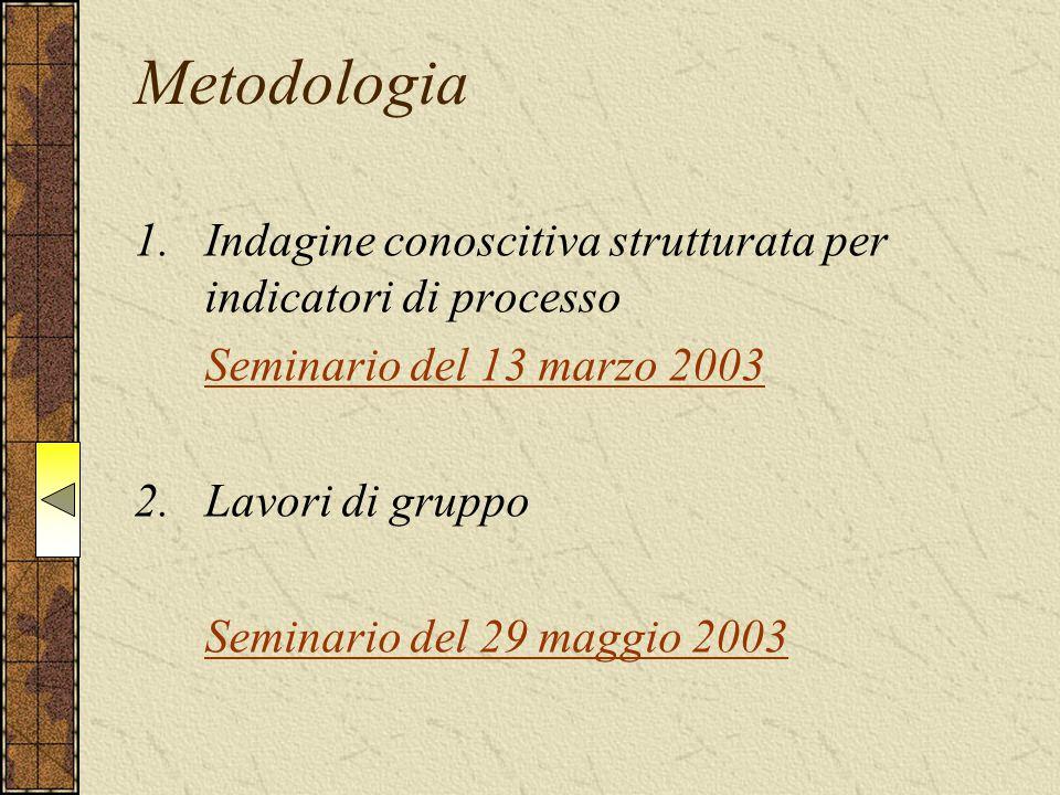Metodologia 1.Indagine conoscitiva strutturata per indicatori di processo Seminario del 13 marzo 2003 2.Lavori di gruppo Seminario del 29 maggio 2003