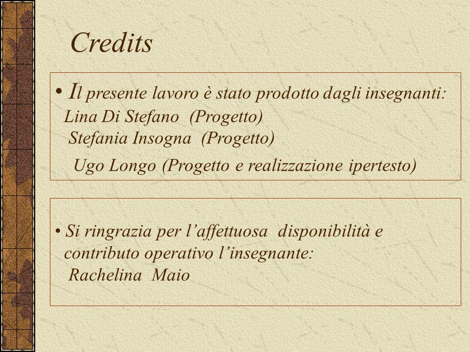 Credits I l presente lavoro è stato prodotto dagli insegnanti: Lina Di Stefano (Progetto) Stefania Insogna (Progetto) Ugo Longo (Progetto e realizzazione ipertesto) Si ringrazia per l'affettuosa disponibilità e contributo operativo l'insegnante: Rachelina Maio