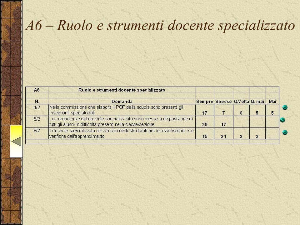 A6 – Ruolo e strumenti docente specializzato