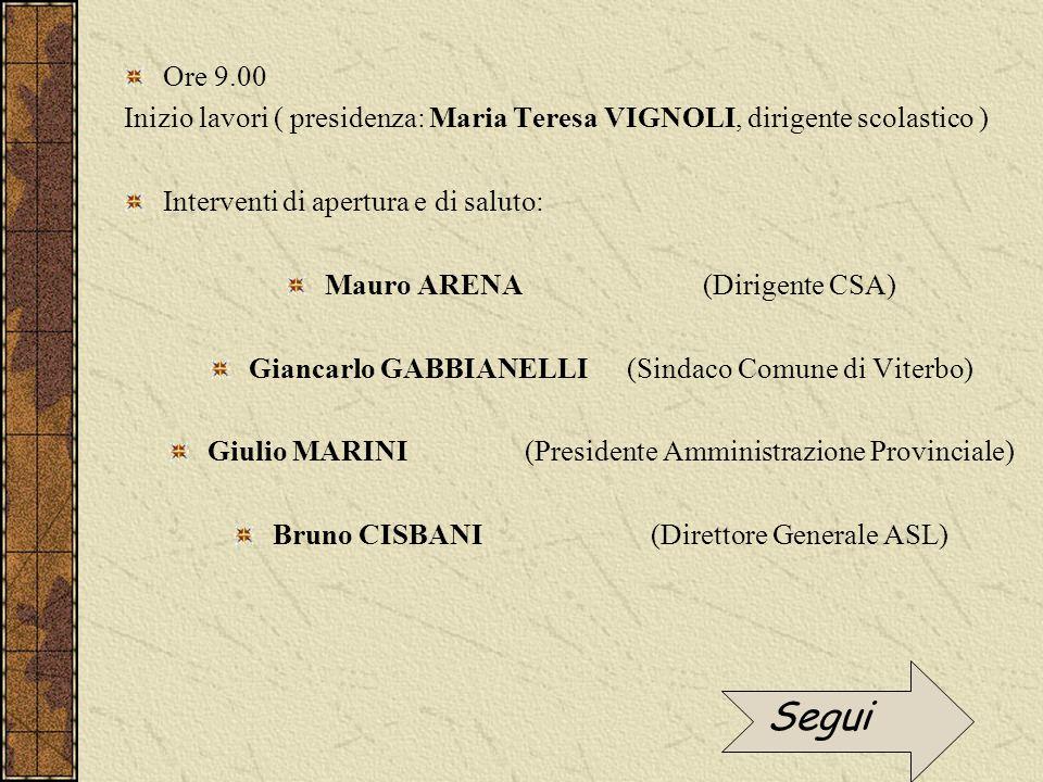 Ore 9.00 Inizio lavori ( presidenza: Maria Teresa VIGNOLI, dirigente scolastico ) Interventi di apertura e di saluto: Mauro ARENA (Dirigente CSA) Gian