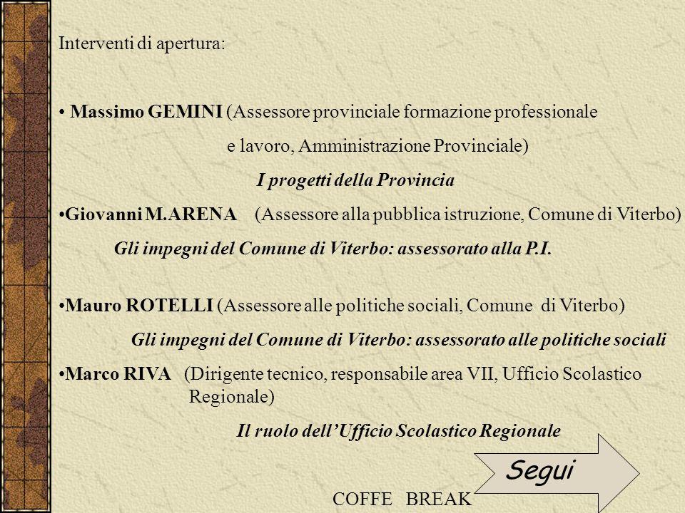 Interventi di apertura: Massimo GEMINI (Assessore provinciale formazione professionale e lavoro, Amministrazione Provinciale) I progetti della Provinc