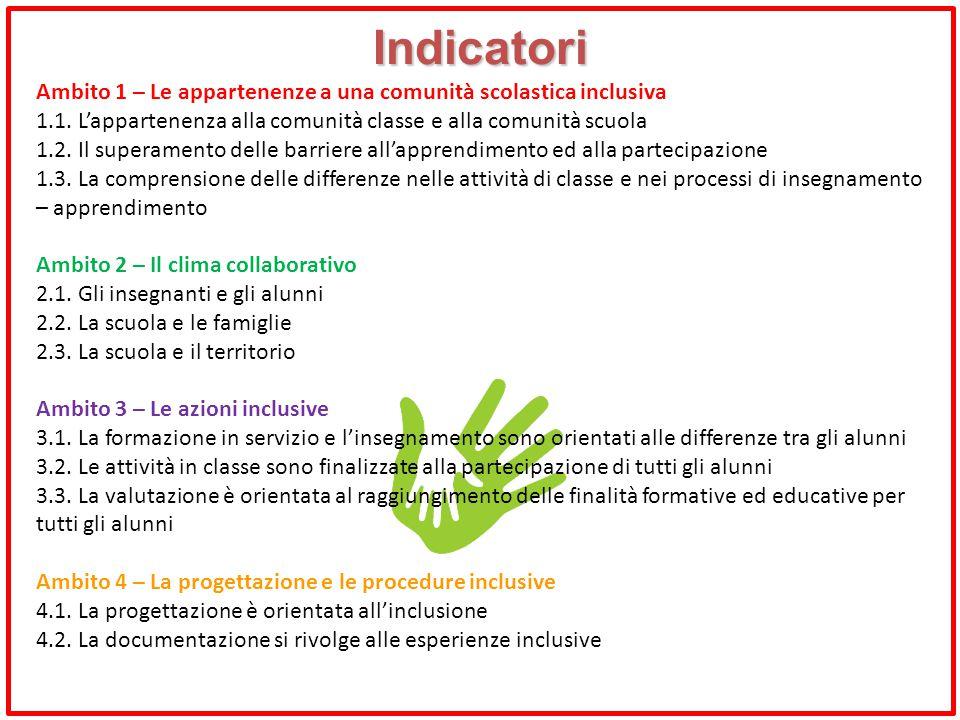 Indicatori Ambito 1 – Le appartenenze a una comunità scolastica inclusiva 1.1. L'appartenenza alla comunità classe e alla comunità scuola 1.2. Il supe
