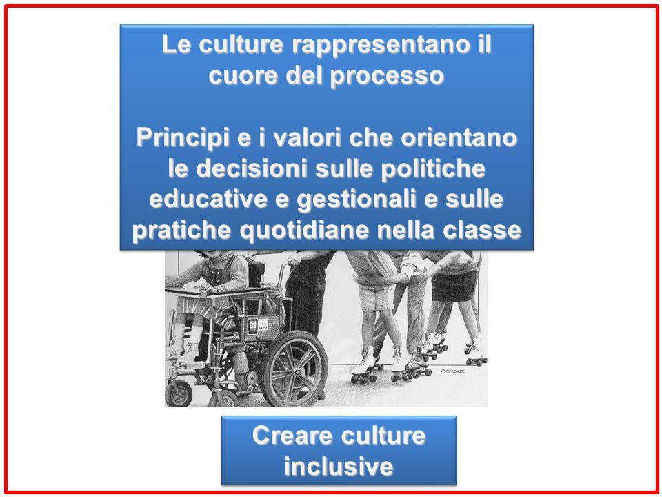 Le culture rappresentano il cuore del processo Principi e i valori che orientano le decisioni sulle politiche educative e gestionali e sulle pratiche