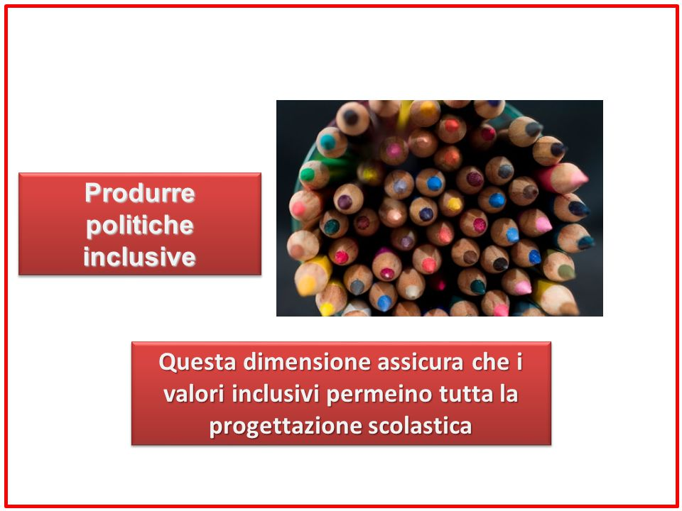 Questa dimensione assicura che i valori inclusivi permeino tutta la progettazione scolastica Produrre politiche inclusive
