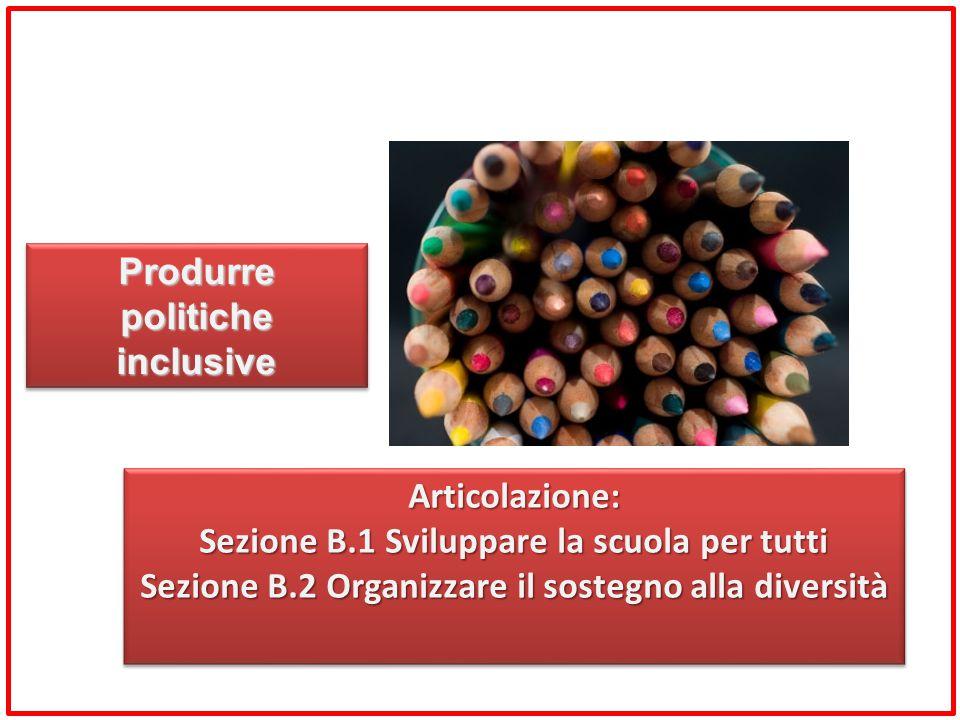 Articolazione: Sezione B.1 Sviluppare la scuola per tutti Sezione B.2 Organizzare il sostegno alla diversità Articolazione: Sezione B.1 Sviluppare la