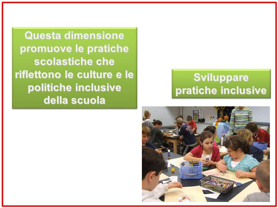 Sviluppare pratiche inclusive Questa dimensione promuove le pratiche scolastiche che riflettono le culture e le politiche inclusive della scuola Quest