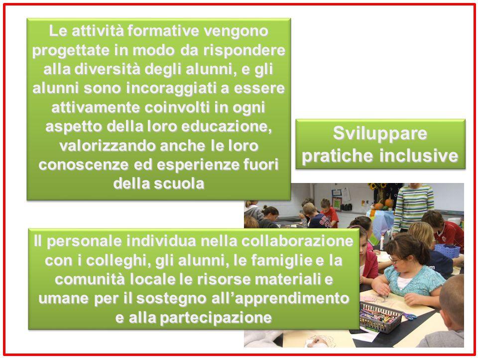 Sviluppare pratiche inclusive Le attività formative vengono progettate in modo da rispondere alla diversità degli alunni, e gli alunni sono incoraggia