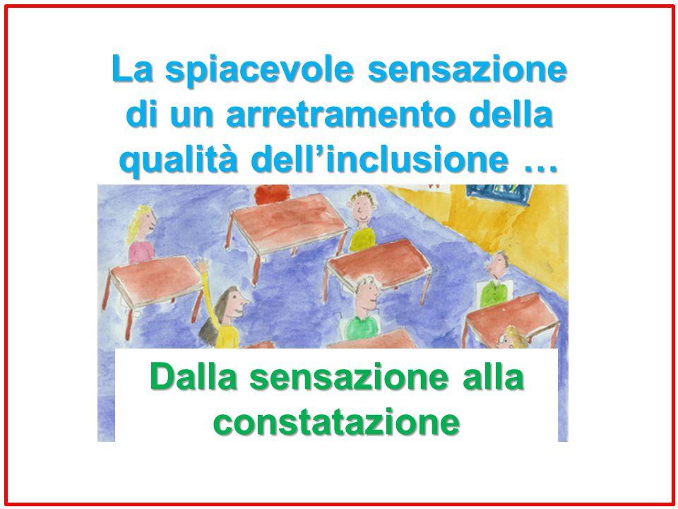 La spiacevole sensazione di un arretramento della qualità dell'inclusione … Dalla sensazione alla constatazione