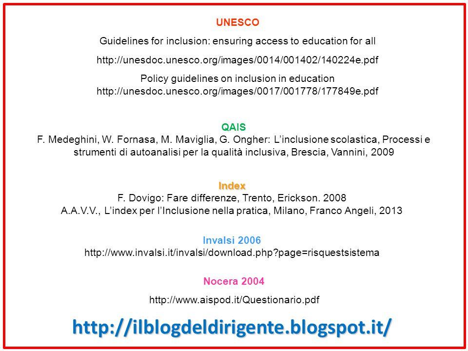 Index F. Dovigo: Fare differenze, Trento, Erickson. 2008 A.A.V.V., L'index per l'Inclusione nella pratica, Milano, Franco Angeli, 2013 Invalsi 2006 ht