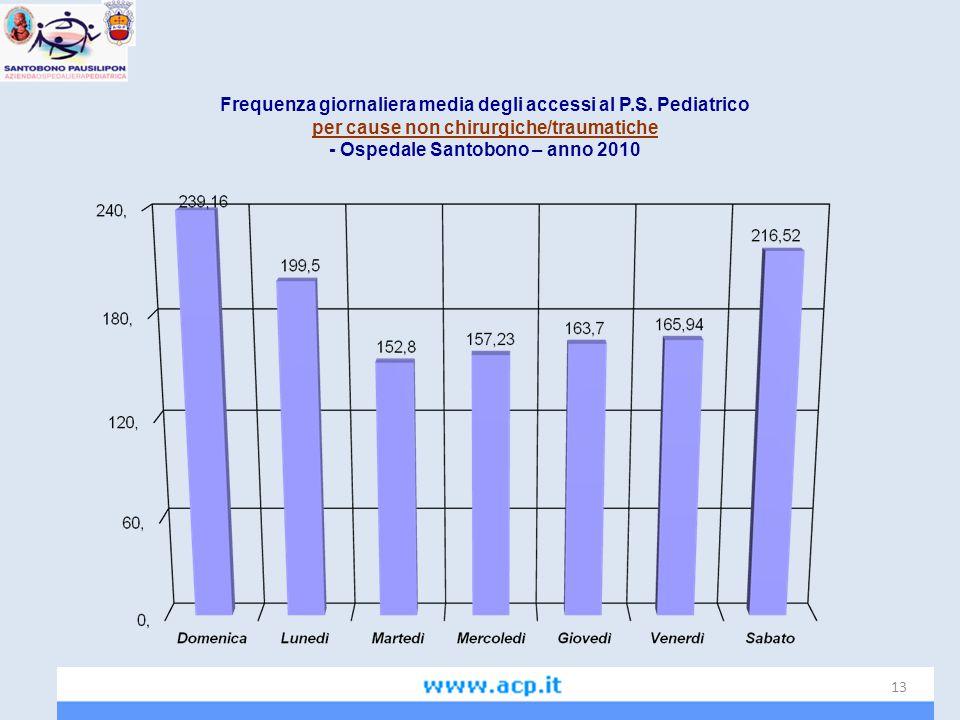 Frequenza giornaliera media degli accessi al P.S. Pediatrico per cause non chirurgiche/traumatiche - Ospedale Santobono – anno 2010 13