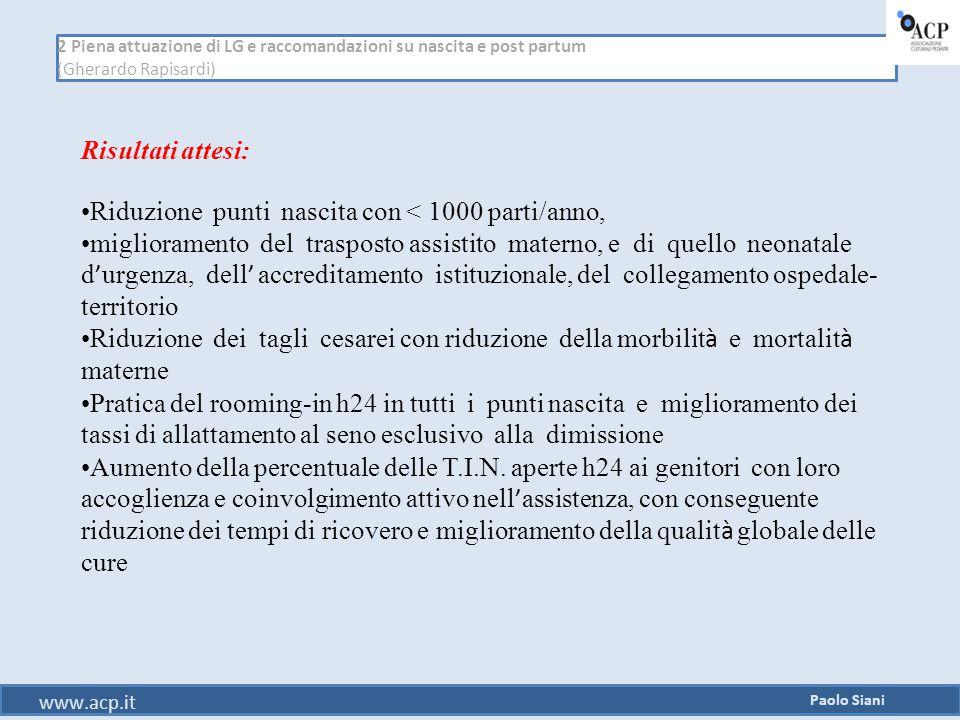 2 Piena attuazione di LG e raccomandazioni su nascita e post partum (Gherardo Rapisardi) Paolo Siani www.acp.it Risultati attesi: Riduzione punti nasc