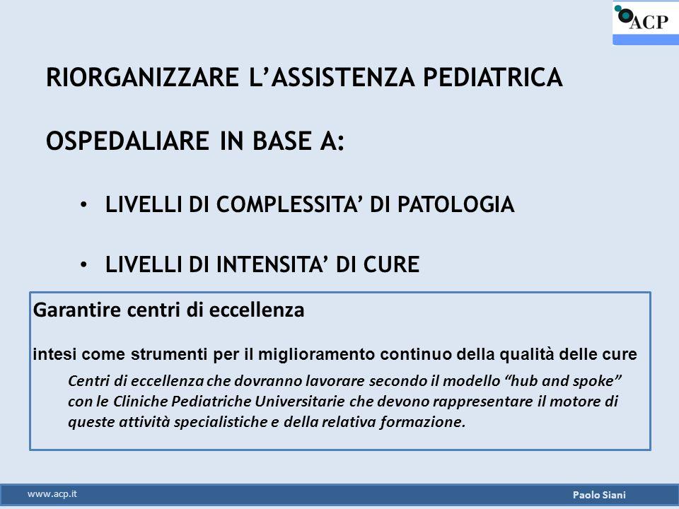 RIORGANIZZARE L'ASSISTENZA PEDIATRICA OSPEDALIARE IN BASE A: LIVELLI DI COMPLESSITA' DI PATOLOGIA LIVELLI DI INTENSITA' DI CURE Paolo Siani www.acp.it
