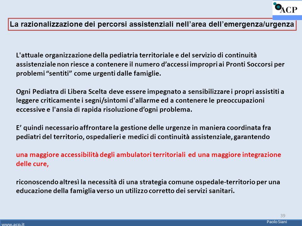 39 L'attuale organizzazione della pediatria territoriale e del servizio di continuità assistenziale non riesce a contenere il numero d'accessi impropr