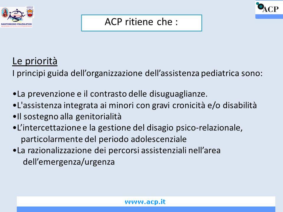 Le priorità I principi guida dell'organizzazione dell'assistenza pediatrica sono: La prevenzione e il contrasto delle disuguaglianze. L'assistenza int