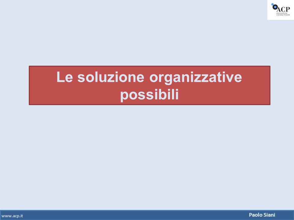 Paolo Siani www.acp.it Le soluzione organizzative possibili