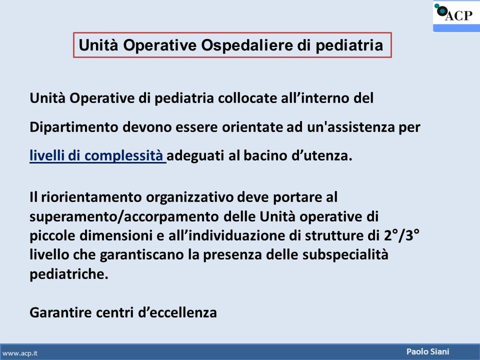 Paolo Siani www.acp.it Unità Operative di pediatria collocate all'interno del Dipartimento devono essere orientate ad un'assistenza per livelli di com
