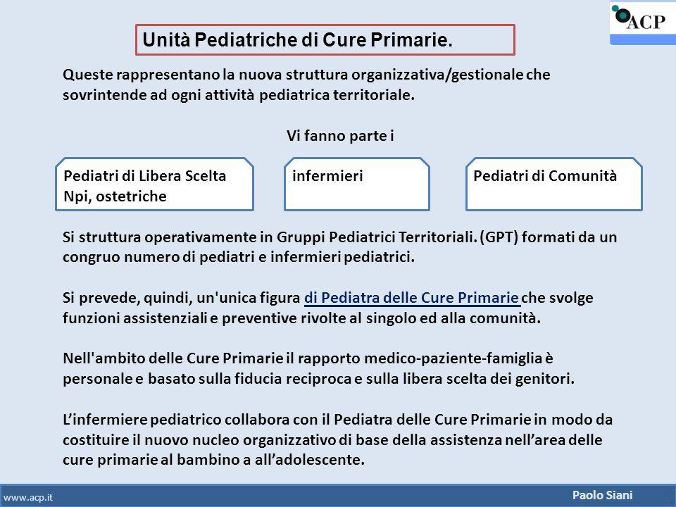 Paolo Siani www.acp.it Queste rappresentano la nuova struttura organizzativa/gestionale che sovrintende ad ogni attività pediatrica territoriale. Vi f