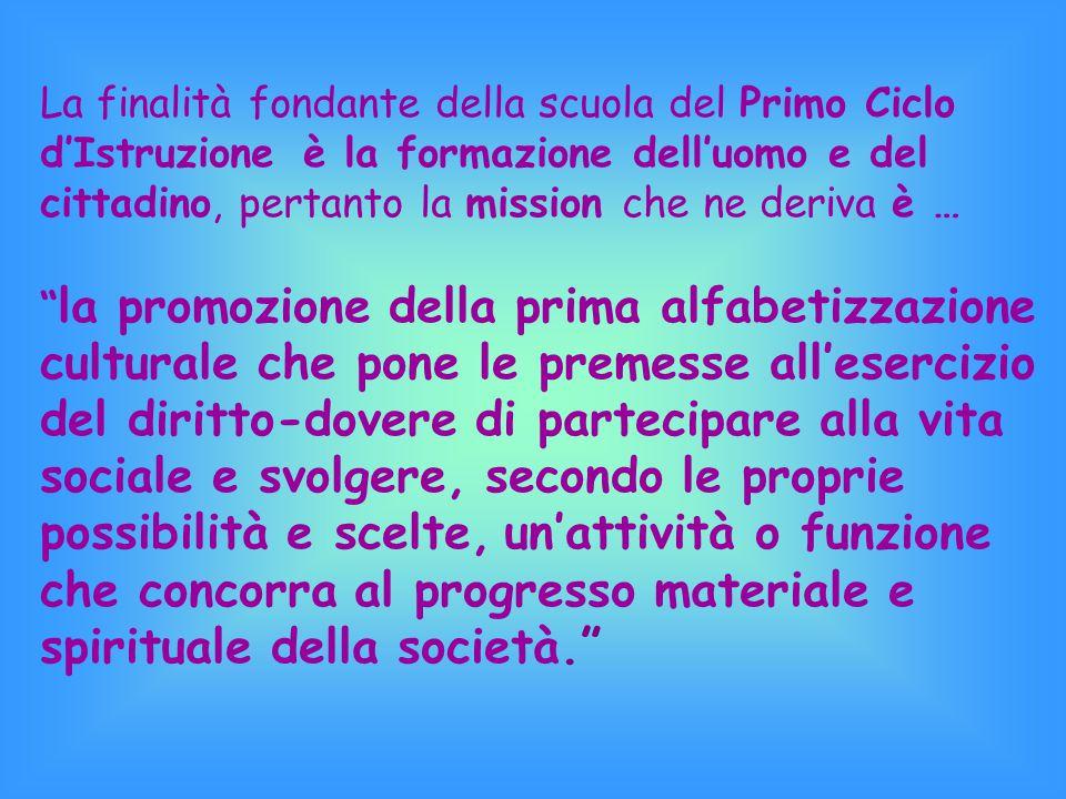 I principi educativi che ci ispirano discendono direttamente dai documenti fondamentali:  Costituzione Italiana  Dichiarazione Internazionale dei Di