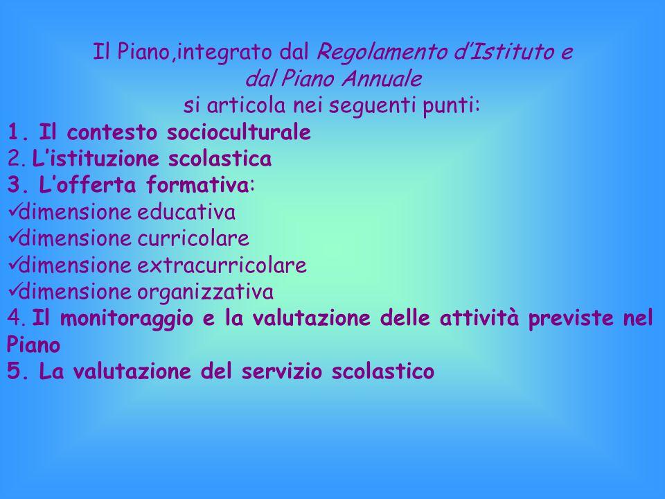 Il Piano,integrato dal Regolamento d'Istituto e dal Piano Annuale si articola nei seguenti punti: 1.