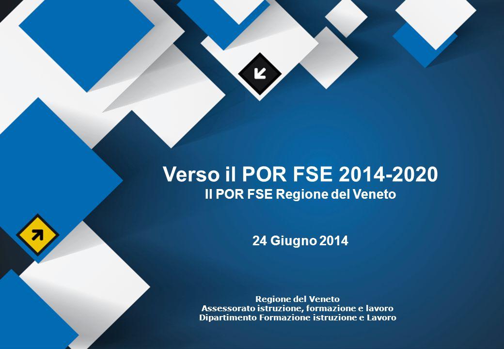 3 Verso il POR 14-20: Il percorso intrapreso Orientamenti Europa 2020 Position Paper Quadro Strategico Comune Proposte di Regolamenti Accordo di Partenariato Programma Operativo Regionale Attivazione del Partenariato Istituzionale Regionale Programmazione Regionale Unitaria (DGR 410/2013) Strategia Regionale Unitaria (DGR 657/2014) Tavolo di Partenariato regionale POR FSE (DGR 1963/2013) Gruppo Tecnico di coordinamento Gruppo Operativo per la PRU Commissione regionale per la concertazione tra le parti sociali Comitato di coordinamento (esteso ad altri componenti) Analisi del contesto socio- economico attuale Confronto con il territorio Analisi della programmazione 2007-2013 Valorizzazione di buone prassi