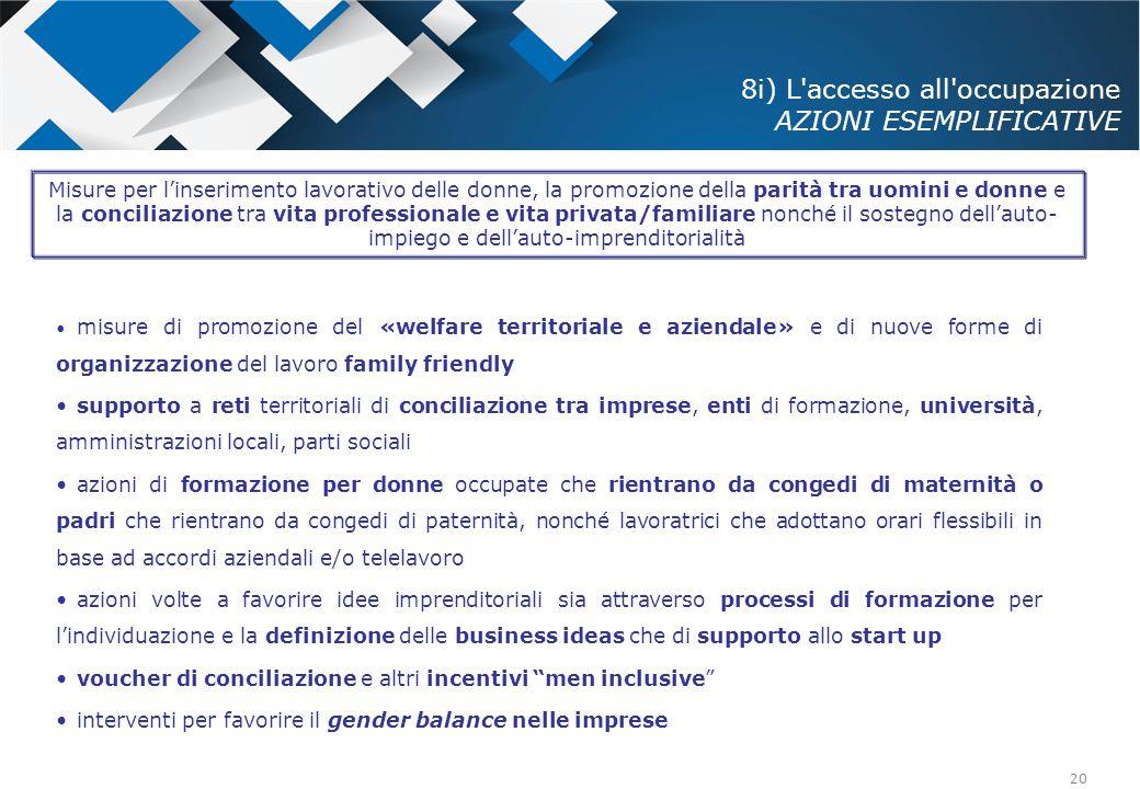 20 8i) L'accesso all'occupazione AZIONI ESEMPLIFICATIVE misure di promozione del «welfare territoriale e aziendale» e di nuove forme di organizzazione