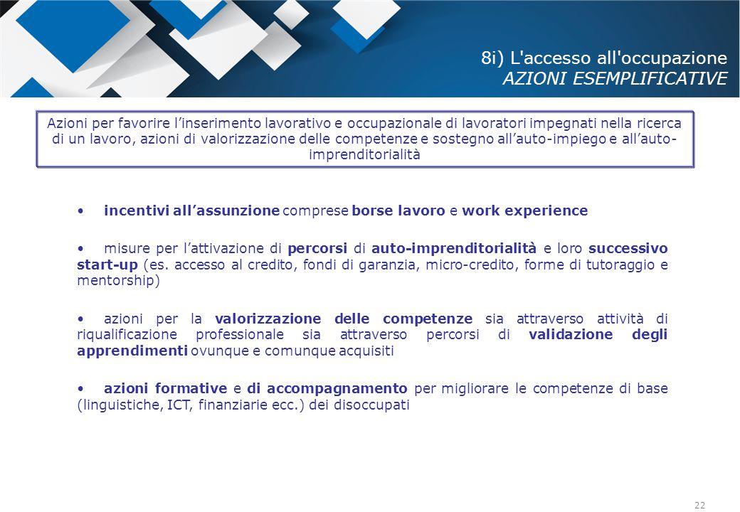22 8i) L'accesso all'occupazione AZIONI ESEMPLIFICATIVE incentivi all'assunzione comprese borse lavoro e work experience misure per l'attivazione di p