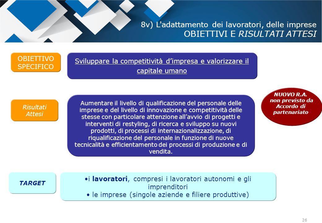 26 OBIETTIVO SPECIFICO Risultati Attesi Sviluppare la competitività d'impresa e valorizzare il capitale umano Aumentare il livello di qualificazione d