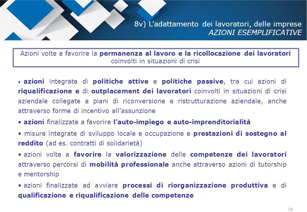 29 azioni integrate di politiche attive e politiche passive, tra cui azioni di riqualificazione e di outplacement dei lavoratori coinvolti in situazio