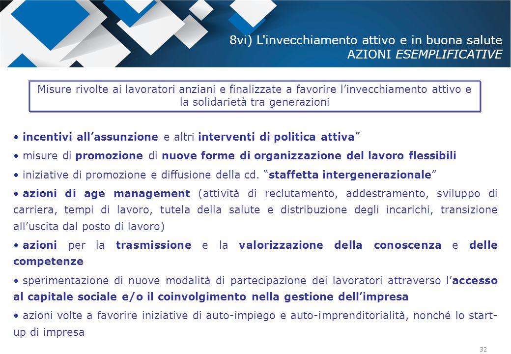 """32 incentivi all'assunzione e altri interventi di politica attiva"""" misure di promozione di nuove forme di organizzazione del lavoro flessibili iniziat"""