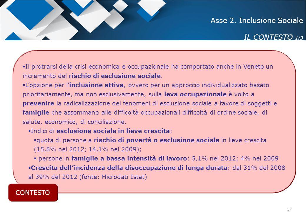 37  Il protrarsi della crisi economica e occupazionale ha comportato anche in Veneto un incremento del rischio di esclusione sociale.  L'opzione per