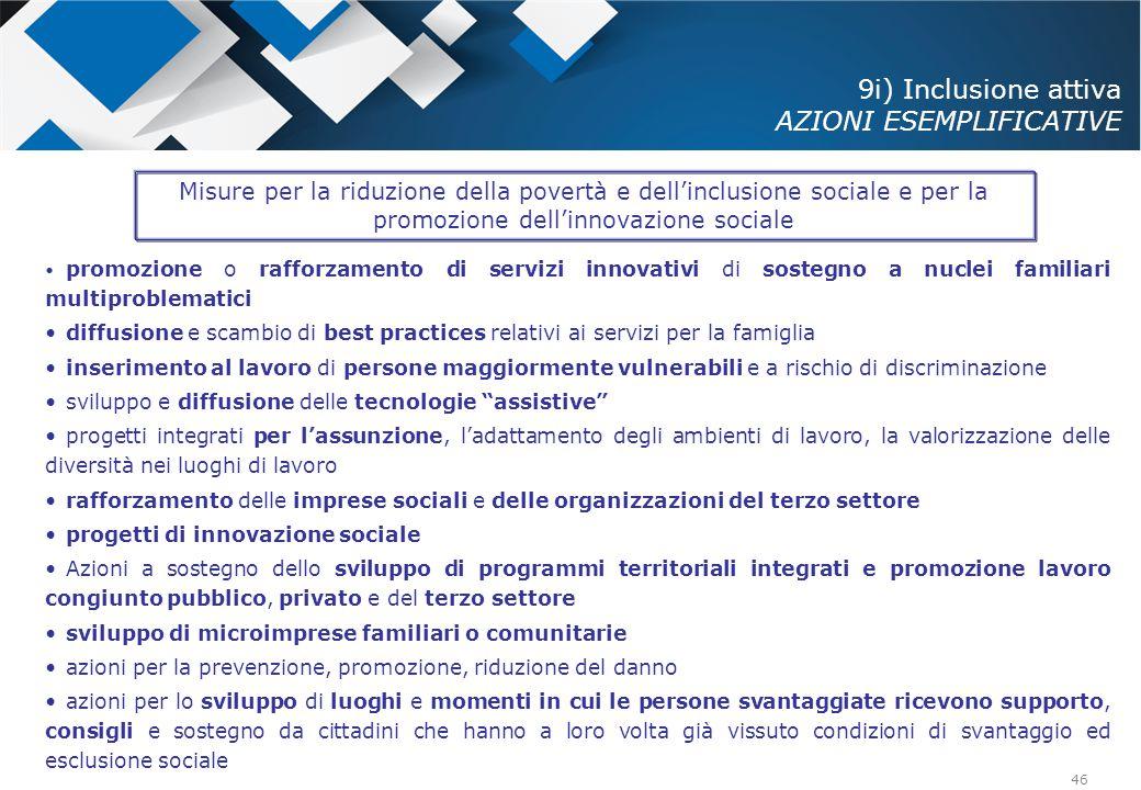 46 promozione o rafforzamento di servizi innovativi di sostegno a nuclei familiari multiproblematici diffusione e scambio di best practices relativi a