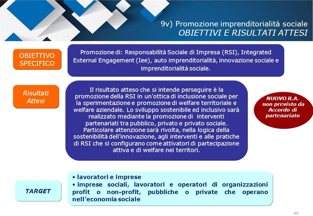 49 Promozione di: Responsabilità Sociale di Impresa (RSI), Integrated External Engagement (Iee), auto imprenditorialità, innovazione sociale e imprend