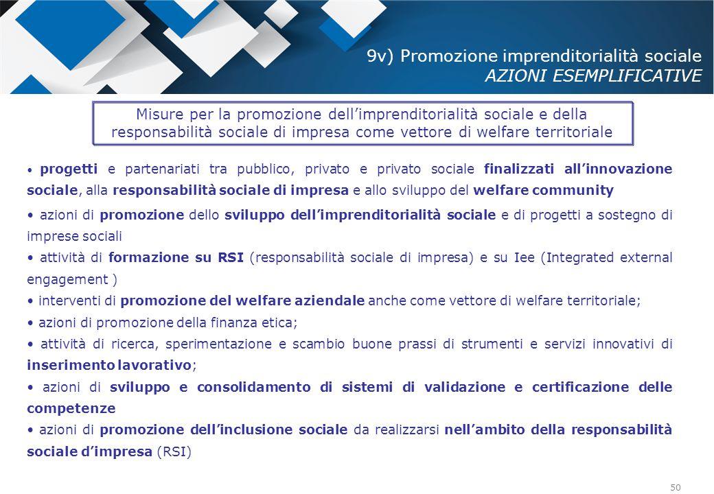 50 progetti e partenariati tra pubblico, privato e privato sociale finalizzati all'innovazione sociale, alla responsabilità sociale di impresa e allo