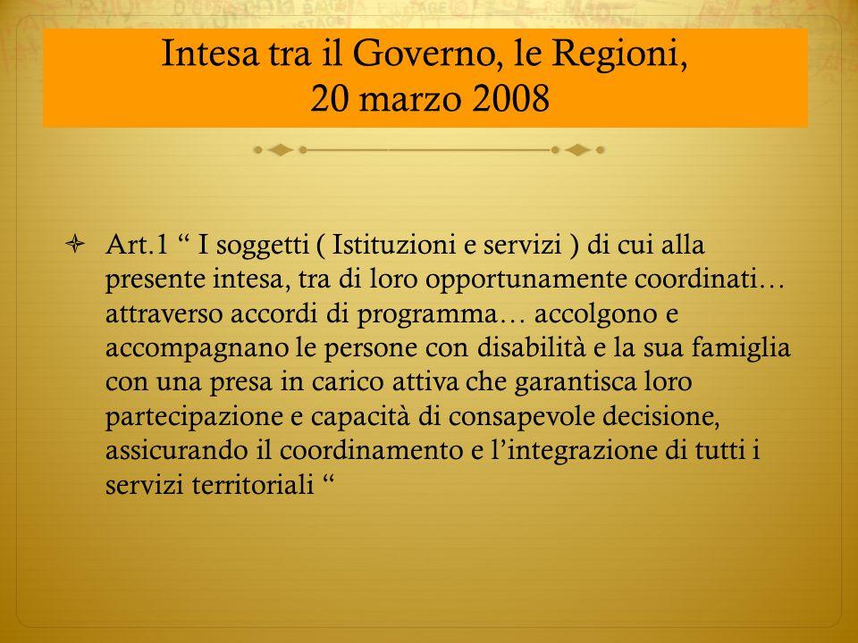 """ Art.1 """" I soggetti ( Istituzioni e servizi ) di cui alla presente intesa, tra di loro opportunamente coordinati… attraverso accordi di programma… ac"""