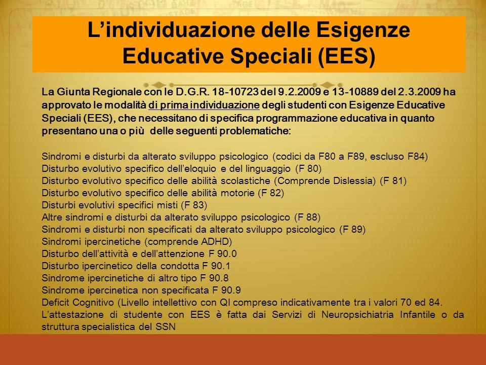 La Giunta Regionale con le D.G.R. 18-10723 del 9.2.2009 e 13-10889 del 2.3.2009 ha approvato le modalità di prima individuazione degli studenti con Es
