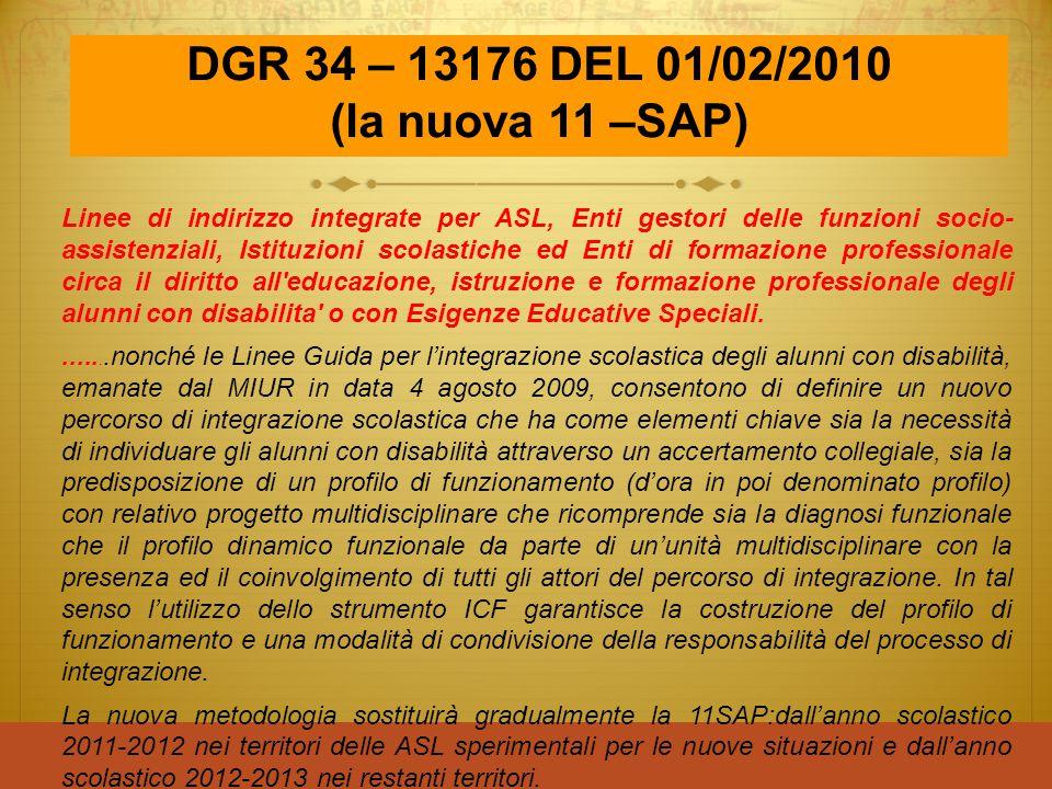 DGR 34 – 13176 DEL 01/02/2010 (la nuova 11 –SAP) Linee di indirizzo integrate per ASL, Enti gestori delle funzioni socio- assistenziali, Istituzioni s