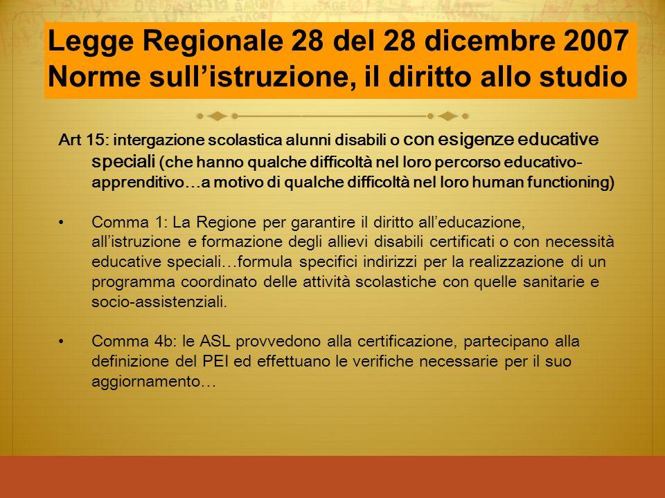 Legge Regionale 28 del 28 dicembre 2007 Norme sull'istruzione, il diritto allo studio Art 15: intergazione scolastica alunni disabili o con esigenze e